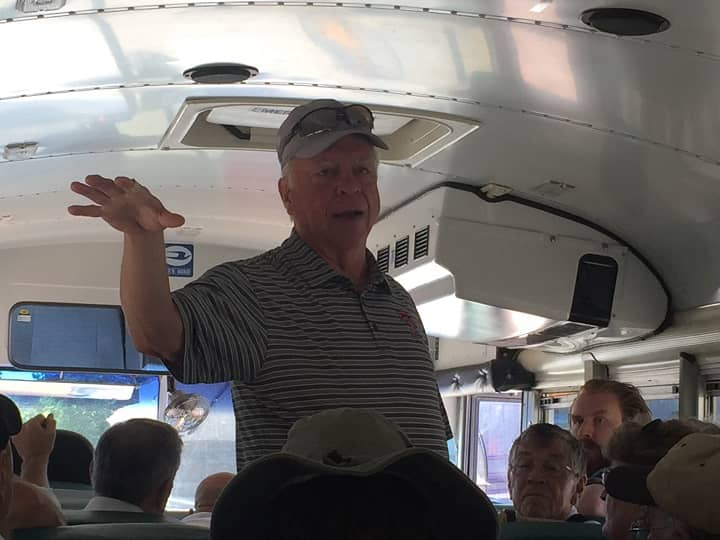 Howard Days 2019 Jack Baum conducts the REH bus tour of Cross Plains-small