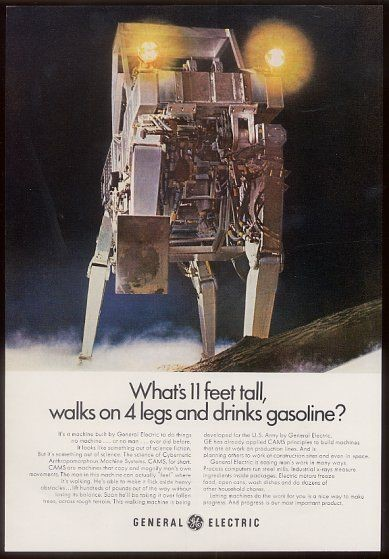 GE color ad for walking truck