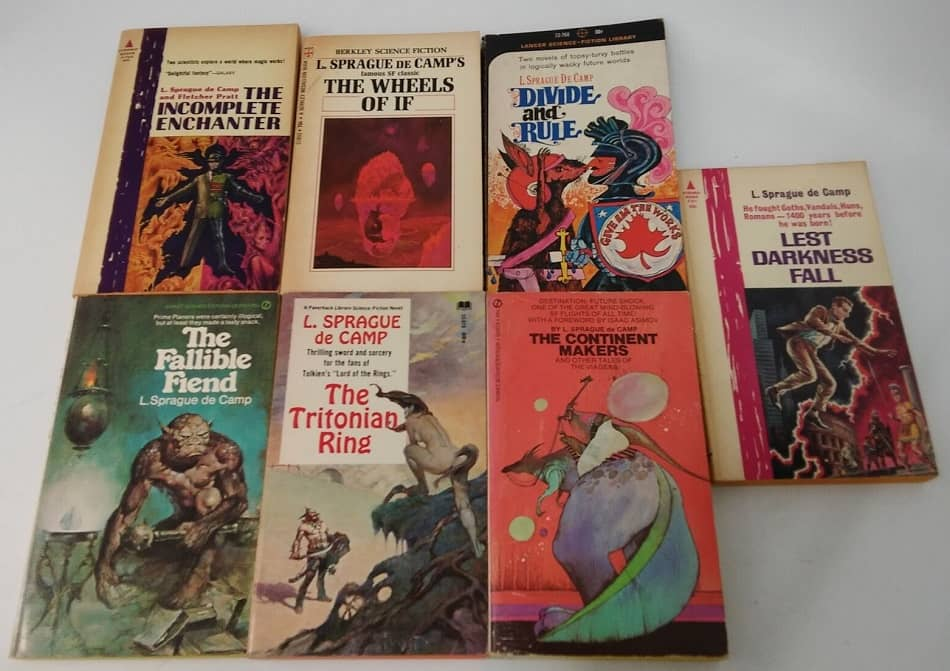 L Sprague de Camp vintage paperback lot 3-smal