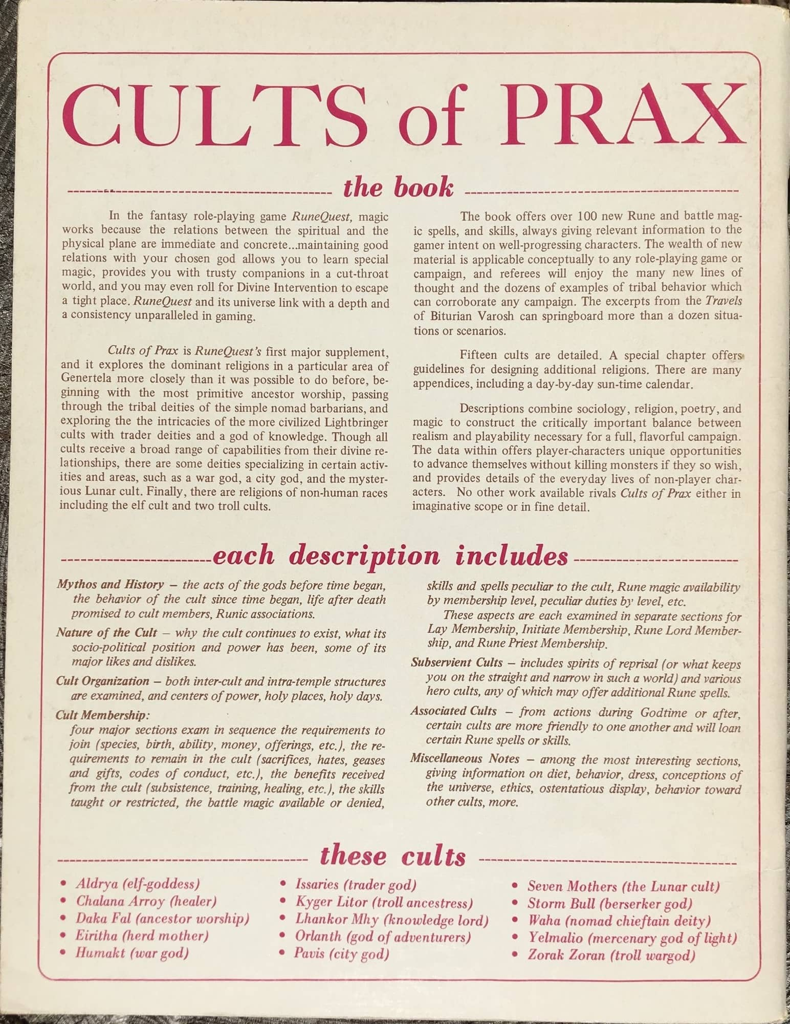 Cults of Prax: Then and Now