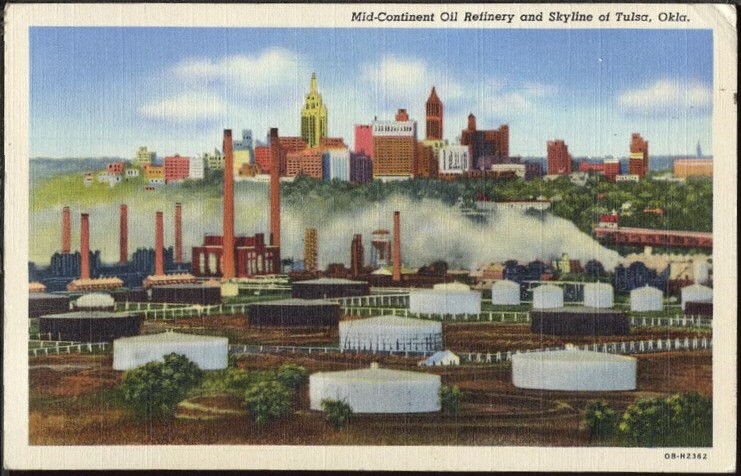 Mid-Continent Oil Refinery color postcard