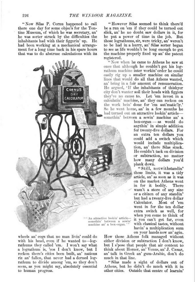 Henry A. Hering, SILAS P. CORNU'S DRY CALCULATOR, The Windsor magazine, Jan. 1898 226