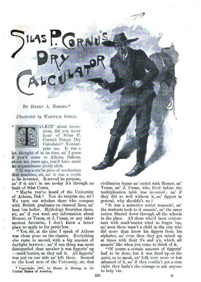 Henry A. Hering, SILAS P. CORNU'S DRY CALCULATOR, The Windsor magazine,Jan. 1898 225