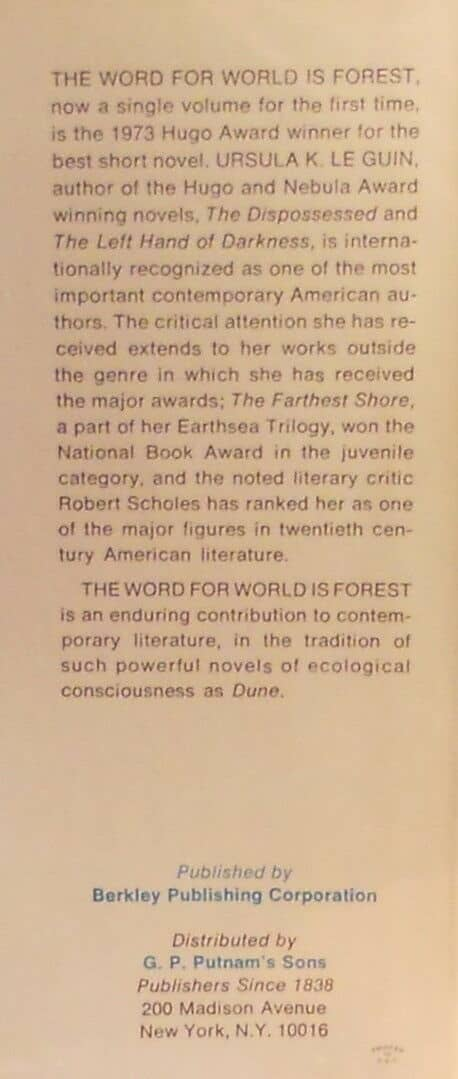 The Word for World is Forest back flap text