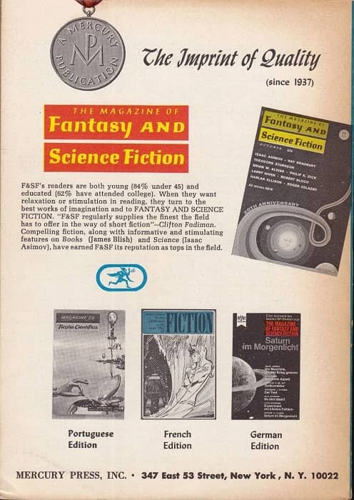 The Magazine of Fantasy and Science Fiction August 1972-back-small