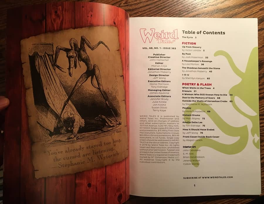 Weird Tales 363 Table of Contents-small