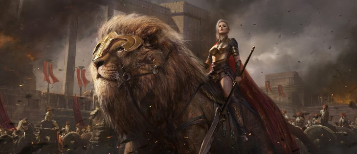 sean_shi_artstation_original_fantasy_art_girl_beautiful_warrior_lion_shuo_SHI_2077x900