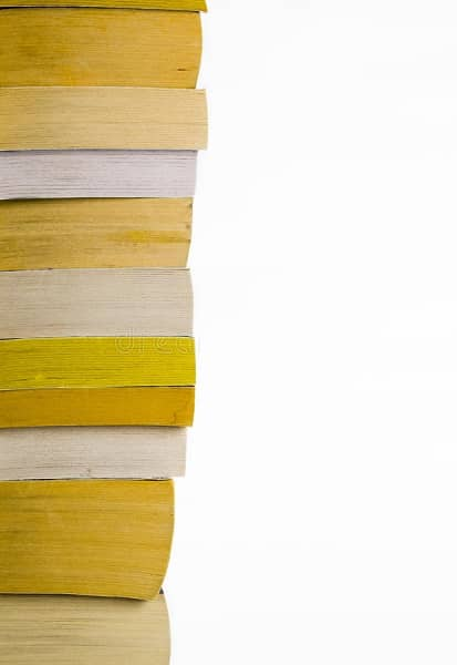 Stack of US paperbacks with yellow edging-small