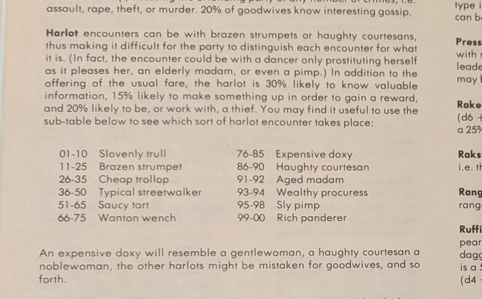 Dungeon Master's Guide Harlot Encounter Table