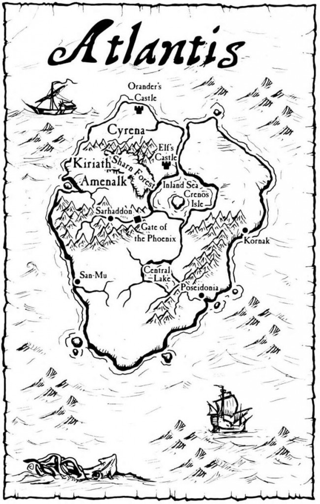 Can you be more classically pulp fantasy than Atlantis? A map of the lost continent, ala Kuttner -- though Adrian's work promises to fill in a number of blank spaces.