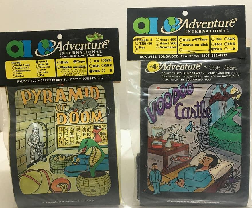 adventure # 8 - pyramid of doom - adventure #4 - voodoo castle - apple - adventure international-small