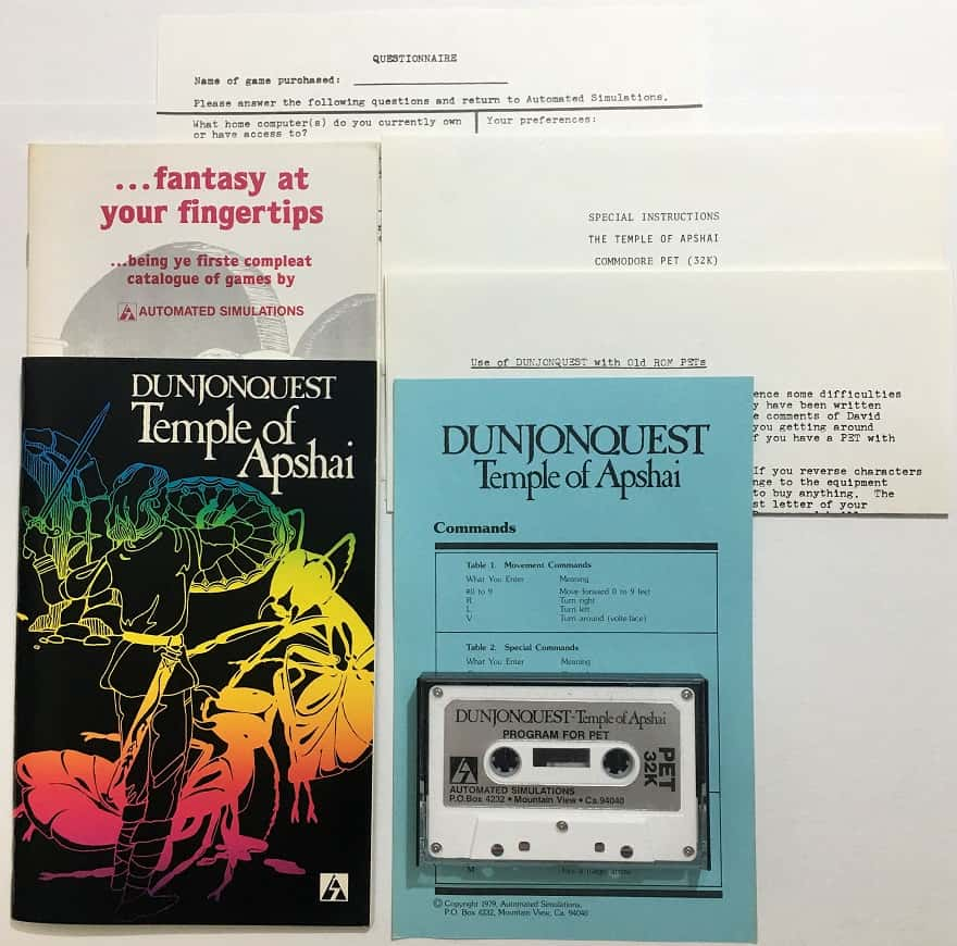 dunjonquest temple of apshai - pet - automated simulations-small
