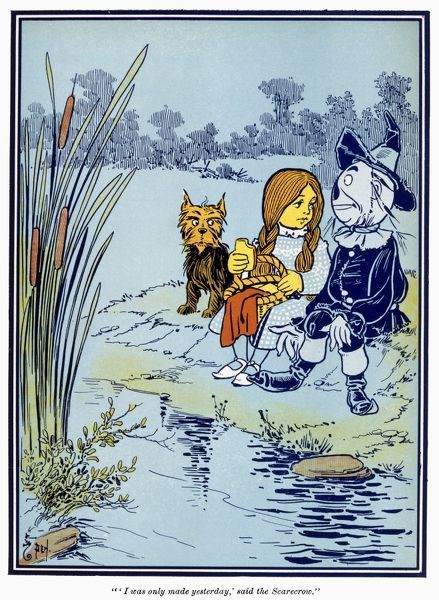 WIZARD OF OZ, 1900. Dorothy and the Scarecrow. Illustration by W.W. Denslow from the 1st edition, 1900, of L. Frank Baum's 'The Wonderful Wizard of Oz.'