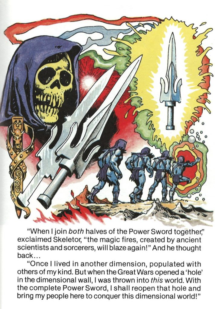 Panel showing Skeletor before the two halves of the Power Sword